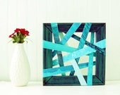 20% Moving Sale Abstract Art Painting - 3-D, Deconstructed, Geometric, Teal, Aqua, Turquoise, Light Blue, Small 8X8