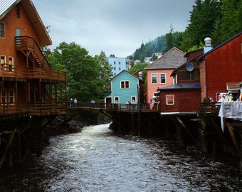8.5 X 11 photograph of Creek Street in Ketchikan, Alaska