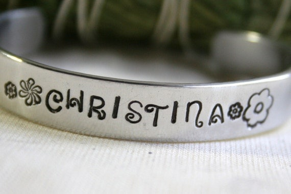 Customized Name Bracelet Hand Stamped Cuff Aluminum Personalized Girls