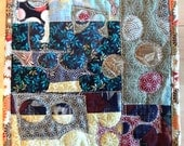 Pebble Beach No.3 - Beautiful fabric collage and quilted occasional mat