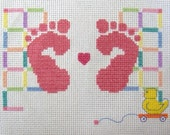 Birth Announcement Counted Cross Stitch for Girl with Pink Feet - Baby Feet, Completed Cross Stitch, Birth Record, Baby Girl