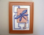Dragonfly Cross Stitch Finished in Brown Frame - Completed Cross Stitch, X Stitch, Dragonfly X Stitch, Finished Cross Stitch