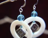 White Mother of Pearl Earrings with Silver Diamond and Blue Glass Beads