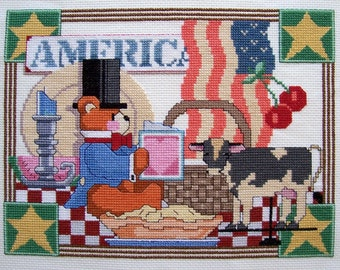 Patriotic Bear with Flag, Pie, Country Cow Completed Cross Stitch 8x10 - Finished Cross Stitch, 4th of July Cross Stitch, Completed X Stitch