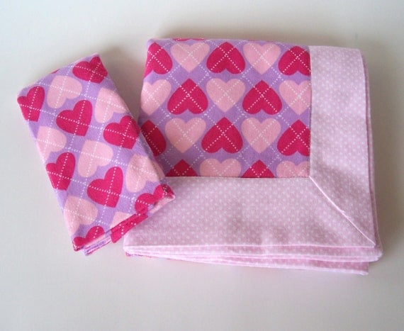 Double Flannel Baby Blanket in Pink Hearts with FREE Burp Cloth for Girl - Receiving Blanket, Heart Flannel Blanket, Pink Baby Blanket