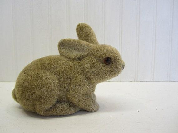 Vintage Flocked Bunny Rabbit Bank
