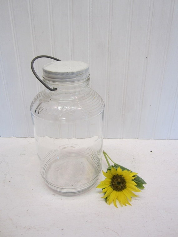 Vintage Clear Texize Jar With Metal Lid And Wire Handle