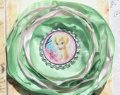 Tinkerbelle Fairy Disney Inspired  Boutique style bottlecap hair flower bloom Seaside Blooms