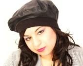 RESERVED for Sarah Vintage 1980's Black leather boho beret hat
