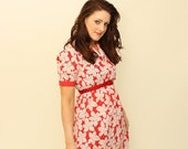 Vintage 1950's red and white flowers day Dress