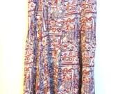 Vintage 1980's brown khaki tribal geometric long floaty skirt