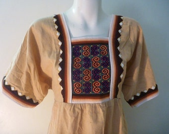 Vintage 1970's pale mustard Prairie Festival Maxi Dress