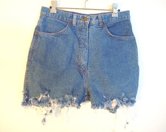 Vintage 1980s 'Grandway' blue high waisted destroyed denim cut off shorts