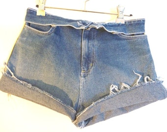Vintage 1980s 'Saltwater' blue high waisted destroyed denim cut off shorts