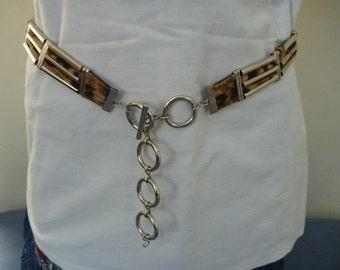 Vintage 1980s silver animal print belt