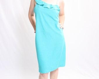 Vintage 1980s Dress Teal Frill Sequin wiggle