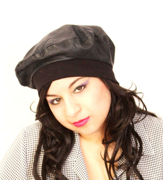 RESERVED for Sarah Vintage 1980's Black leather boho beret hat
