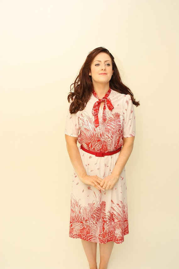 Vintage 1950's red and white flowers secretary Dress