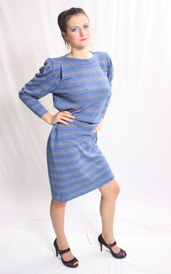 Vintage 1980s Blue Avant Garde striped Dress