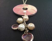 SALE** price reduced 25%***Reversible washer pendant necklace with pink floral paper and dangly beads