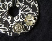 SALE**  Reversible washer pendant necklace with black and white print and beads
