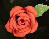 Long stemmed single red paper rose with green leaf  made from cardstock