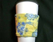 Yellow and blue coffee cozy sleeve two sided-great with iced drinks too