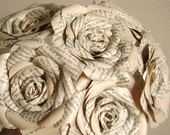 vintage book paper roses long stemmed bouquet  for weddings, mothers day graduation, get well