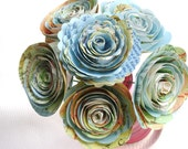 """Tiny 1""""-1 1/2"""" spiral roses made from vintage atlas maps on stems wedding decorations"""