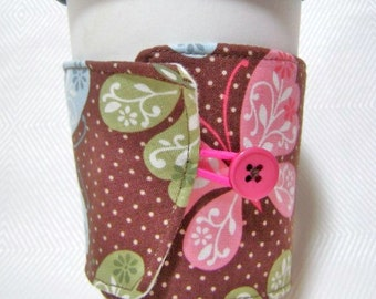 two sided coffee cozy with pink and blue butterflies- great  on iced drinks