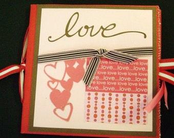 Love pink Paper Bag Mini Scrapbook Album journal gratitude blessings book