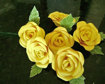 paper flower roses bouquet handmade with yellow cardstock and green leaves bunch of 6 stems
