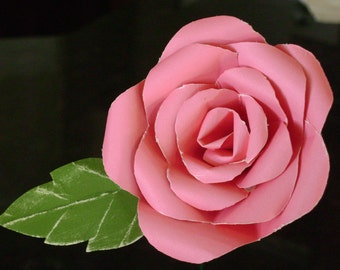 Long stemmed single hot pink paper rose with green leaf  made from cardstock