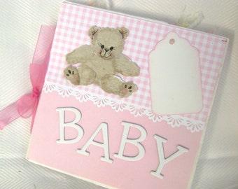 paper bag book mini scrapbook album pink pastel baby book