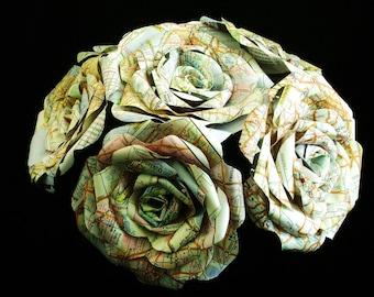 vintage atlas map 6 rose bouquet for weddings, toss bouquet, centerpiece or vase