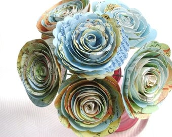 "Tiny 1""-1 1/2"" spiral roses made from vintage atlas maps on stems wedding decorations"