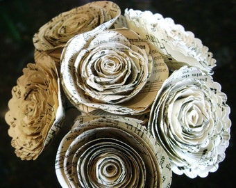 """1.5""""  vintage hymnal sheet music spiral rolled roses tiny bouquets for weddings and scrapbooks"""