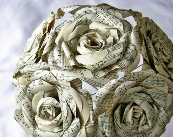vintage hymnal/sheet music paper roses wedding bouquet toss rehearsal recycled alternative steampunk book page centerpiece