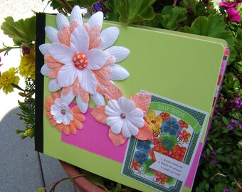 floral mini album scrapbook garden journal  mini book