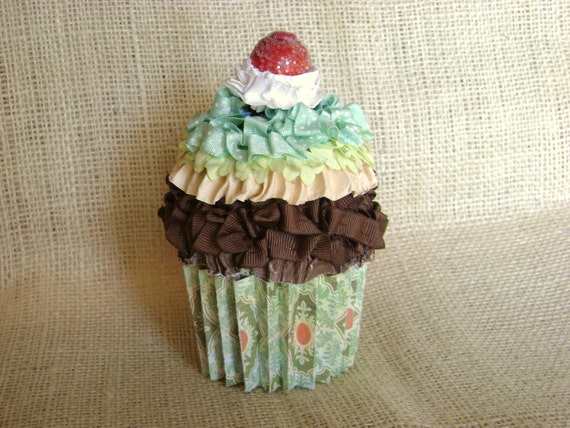 cupcake gift card holder in chocolate and green with whipped cream and a cherry on top