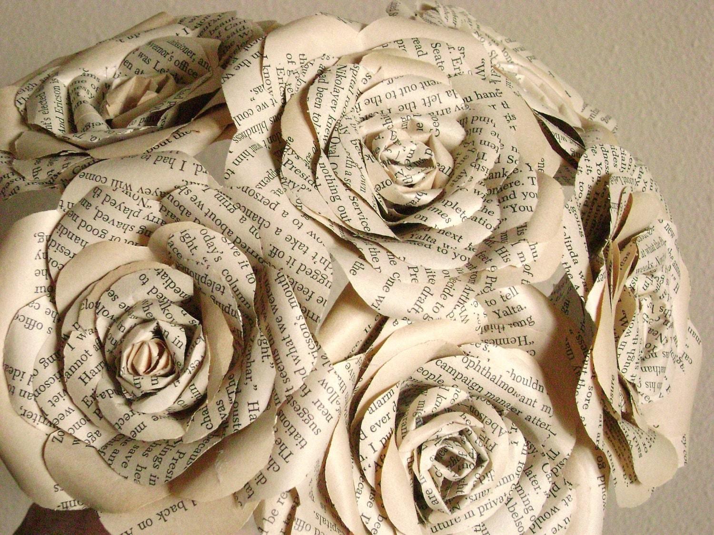 vintage book paper roses long stemmed bouquet for weddings. Black Bedroom Furniture Sets. Home Design Ideas