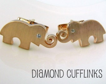 Real Diamond Gemstone Cufflinks - Rose Gold Plated over Sterling Silver - Accessories For Men Groom Father Guys Women -  Elephant (707B)