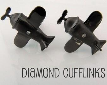 Airplane cufflinks with diamonds, sterling silver cufflinks, unique gift ideas, gifts for him, wedding cufflinks, pilot cufflinks, 707A