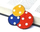 Fabric Brooch Pin. Three Circles. White Polkadot. Orange Blue Yellow. Fifties love theme. Metal pinback. Australian handmade