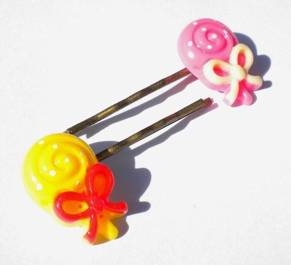 Lollipops set A - Cute Sweet Hair pins Bobbies - 1 pair