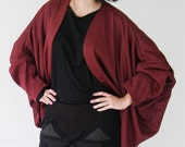 SALE Oversized Cardigan Sweater bordeaux jersey one size .-Ready to ship-