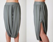 Olive oil Khaki Pants bottom alternative skirt with draped panels recycled. REady to ship