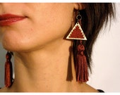 FREE SHIPPING- Long Earrings wood triangles tassels