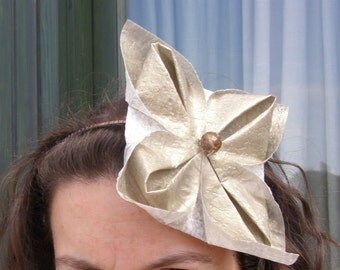 FREE SHIPPING Party origami headband golden flower recycled. -Ready to ship-