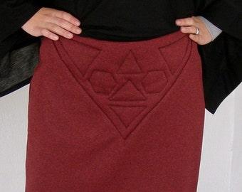 Winter Skirt  jersey geometric quilt size medium small -Ready to ship-